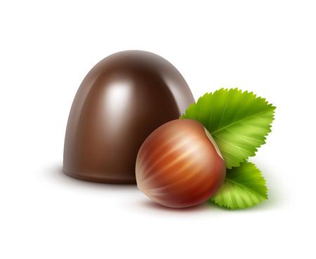 Black Bitter Chocolate Candy with Hazelnuts