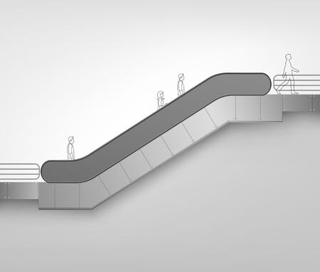 Vector Modern Escalator on White Background