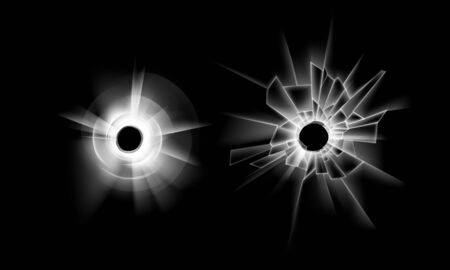 Vector Set of Transparent Crack Broken Glass Window with two Bullet Holes Close up Isolated on Dark Black Background Illustration