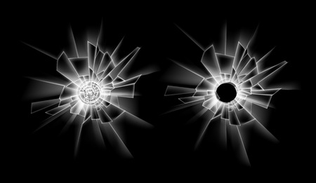 sabotage: Vector Set of Transparent Crack Broken Glass Window with two Bullet Holes Close up Isolated on Dark Black Background Illustration