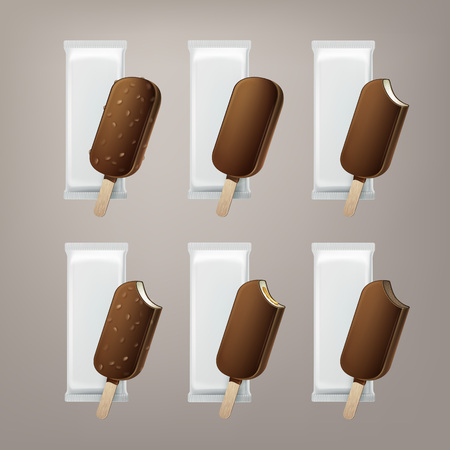 Vector Set of Bitten Popsicle Lollipop Ice Cream in Chocolate Glaze on Stick with Filling and Nuts with White Foil