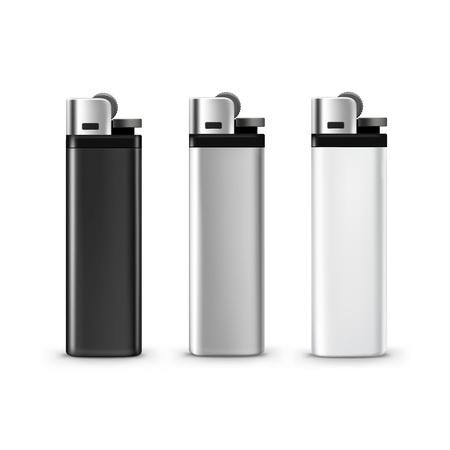 Set of Blank Black White Plastic Metal Lighters