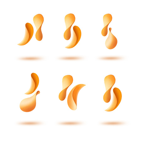 Vector Set of Potato Crispy Falling Chips Isolated on White Background