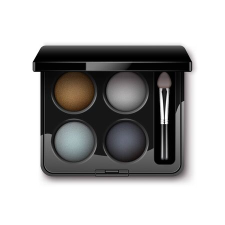 eyelids: Vector MultiColored Eye Shadows with Makeup Brush