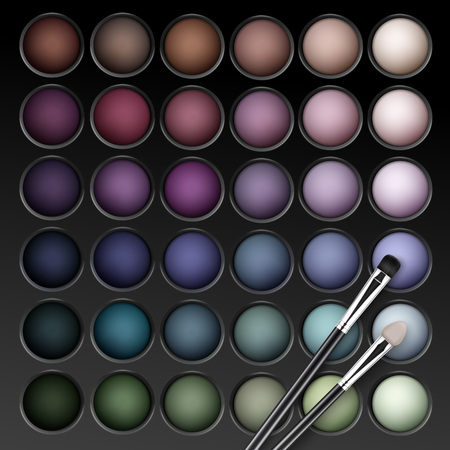 eyelids: Vector Eye Shadows Palette with Makeup Brush Illustration