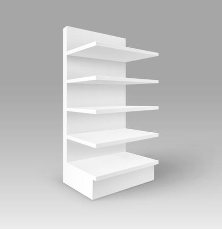 foreshortening: Vector White Blank Empty Exhibition Trade Stand Shop Rack with Shelves Storefront Isolated on Background.