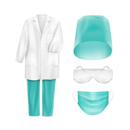 Medical Uniform Accessories Face Mask Hat Glasses