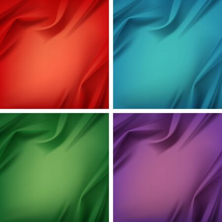 crease: Set of Colored Red Green Blue Violet Purple Satin Silky Cloth Fabric Textile with Crease Wavy Folds
