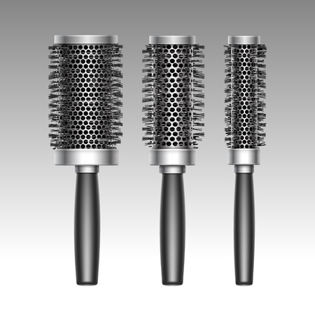 Vector Set Of Black Plastic Hair Coloring Brush Comb Professional ...