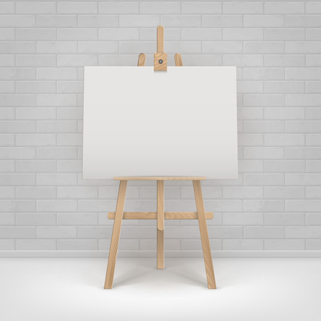 Vector Wooden Brown Sienna Easel with Mock Up Empty Blank Horizontal Canvas Standing on Floor in front of Brick Wall