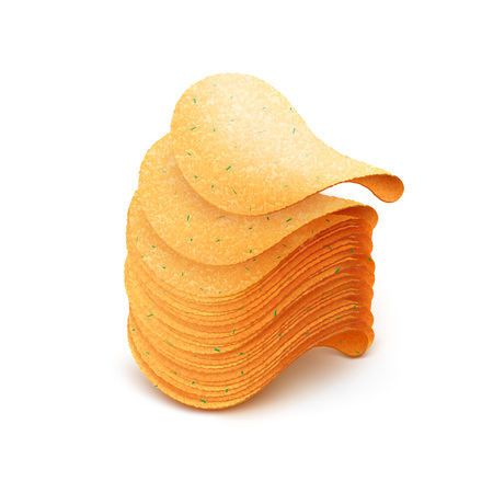 Vector  Stack of  Potato Crispy Chips Close up Isolated on White Background Illustration
