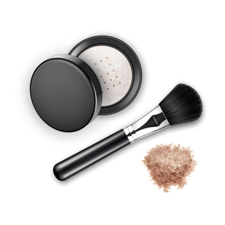 make up face: Vector Crumbled Face Cosmetic Make up Powder Blusher in Black Round Plastic Case with Makeup Brush Applicator Top View Isolated on White Background