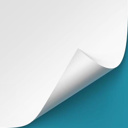 pape: Vector Curled corner of White pape Mock up Close up Isolated on Blue Background Illustration