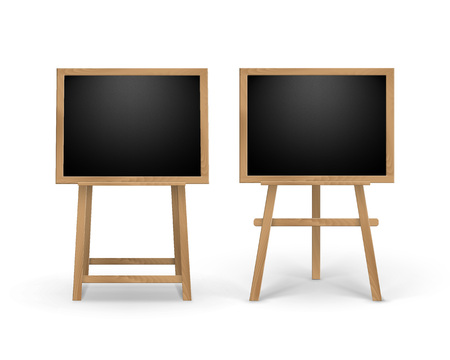 portative: Set of Wooden Easels with Mock Up Empty Blank Square Black Boards Isolated on Background Illustration