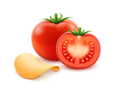 fattening: Potato Crispy Chips with Red Tomato Illustration