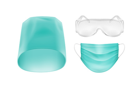 Vector Set of Medical Accessories Face Ear Loop Mask Blue Turquoise Hat Cap and Glasses Isolated on White Background