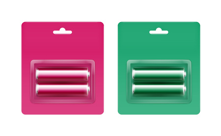 polarity: Vector Set of Pink Magenta Green Glossy Alkaline AA Batteries in Pink Magenta Green Blister Packed for branding Close up Isolated on White Background