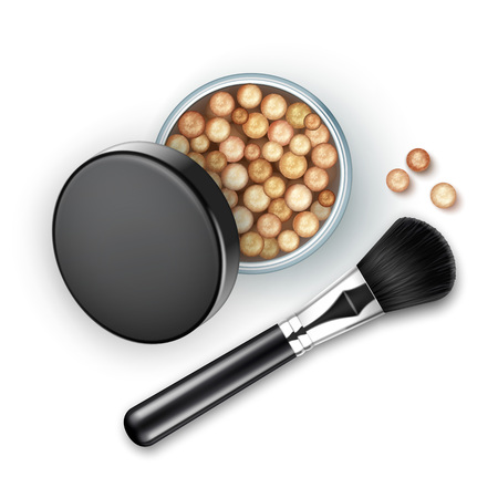 rouge: Vector Open Bronzing Pearls box with Black Cap Rouge Balls with Makeup Brush Applicator Isolated on White Background Illustration