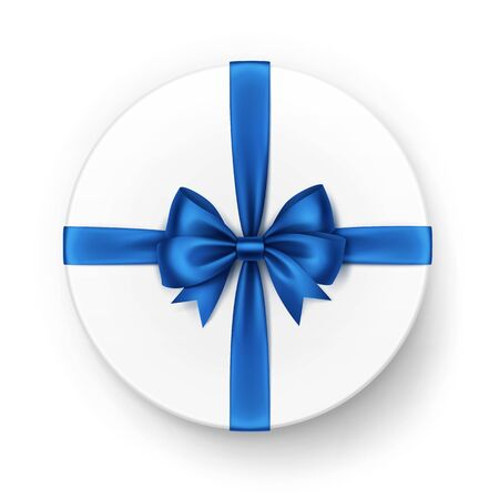 Vector White Round Gift Box with Shiny Blue Satin Bow and Ribbon Top View Close up Isolated on White Background