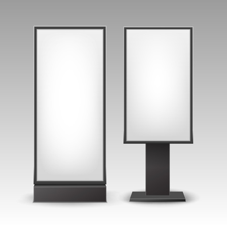 rectangular: Vector Black White Poster Stands Pillars for Indoor Advertising Side View Isolated on Backdrop