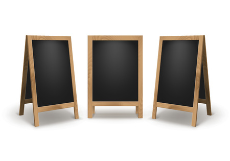 advertising signs: Vector Set of Wooden Empty Blank Advertising Street Sandwich Stands Sidewalk Signs Black Menu Boards Isolated on White Background