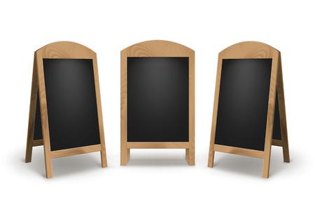 L'insieme di vettore del panino in bianco vuoto di legno della via di pubblicità sta i bordi neri del menu dei segni del marciapiede isolati su fondo bianco Archivio Fotografico - 77440825