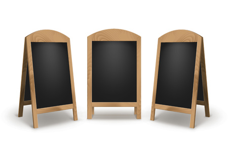 Vector Set van houten lege lege reclame Street Sandwich staat stoep borden zwarte Menu Boards geïsoleerd op een witte achtergrond