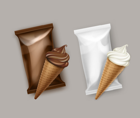 Vector Set of White Classic and Chocolate Soft Serve Ice Cream Waffle Cone with Brown White Plastic Foil Wrapper for Branding Package Design Close up Isolated on Background Illustration