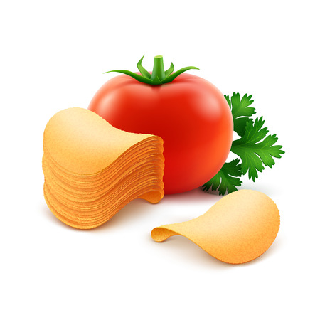 Vector Potato Crispy Chips Stack with Red Tomato Close up Isolated on White Background