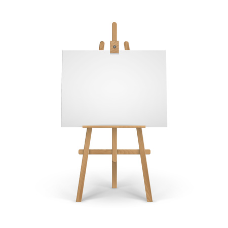 Vector Wooden Brown Sienna Easel with Mock Up Empty Blank Canvas Isolated on Background Stock fotó