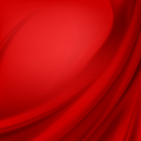 Vector Red Satin Silky Cloth Fabric Textile Drape with Crease Wavy Folds. Abstract Background Illustration