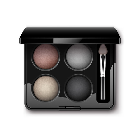 eyelids: Vector Round MultiColored Pastel Light Cream Pink Violet Dark Purple Eye Shadows in Black Rectangular Plastic Case with Makeup Brush Applicator Top View Isolated on White Background
