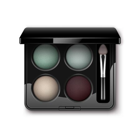 eyelids: Vector Round MultiColored Pastel Light Cream Blue Turquoise Dark Vinous Eye Shadows in Black Rectangular Plastic Case with Makeup Brush Applicator Top View Isolated on White Background