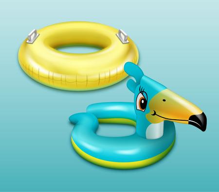 Swim ring for children isolated on plain blue background.
