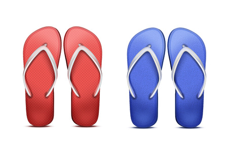 Two pair of flip-flops isolated on plain background. Illustration