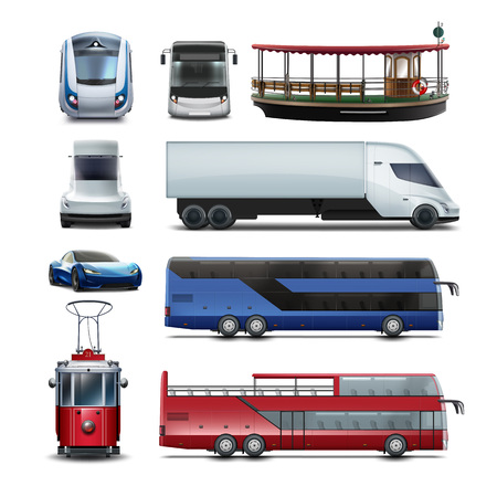Set of public transport vector illustration