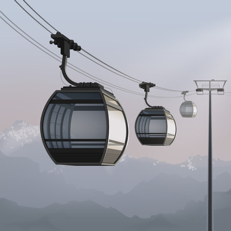 Vector illustration of arial cable car with overview cabin. Isolated on mountain landscape background Illustration