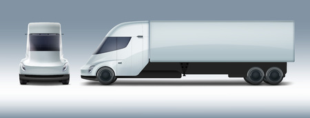 Vector illustration of white electric truck in modern design. Vettoriali