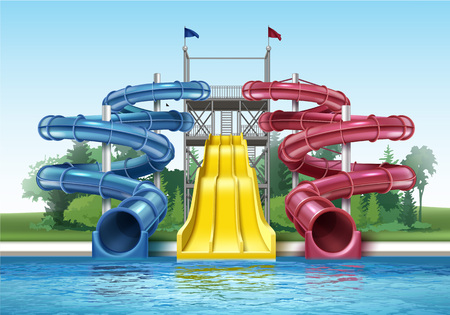 수영장이있는 워터 슬라이더 스톡 콘텐츠 - 100504639