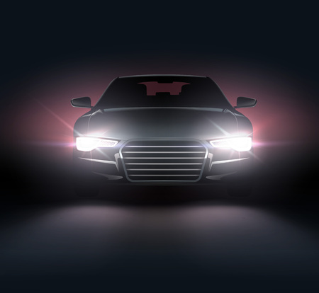 Automobile with headlights