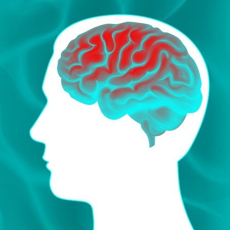 Glowing human brain vector illustration