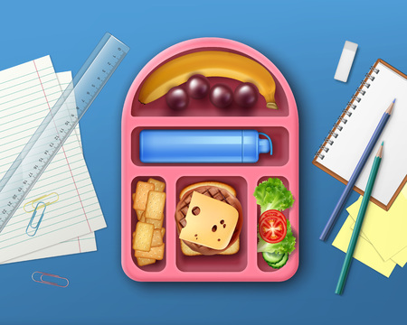 School lunch box concept vector illustration Illustration