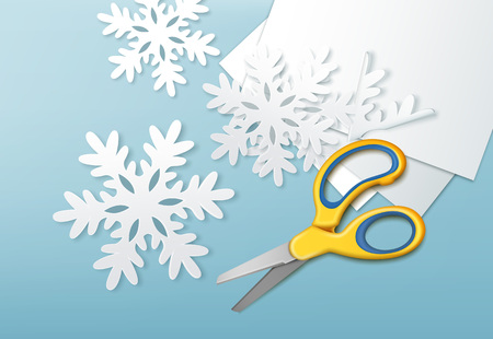 Scissors and paper snowflakes concept vector illustration
