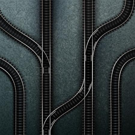 Empty railway tracks concept vector illustration