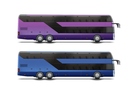 Two double-decker buses icon. Illustration