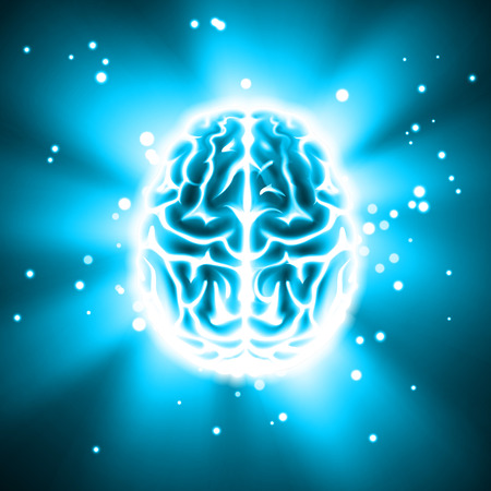 Glowing human brain illustration on dark background.