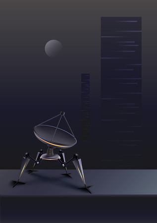 Vector concept of fictional quadruped robot with parabolic satellite dish on futuristic background