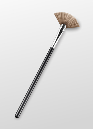 Vector Clean Professional Makeup Highlighter Brush with Black Handle Isolated on White Background