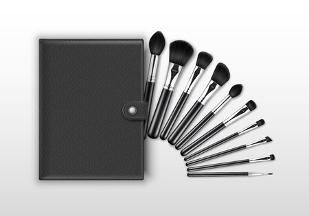 Vector Set of Black Clean Professional Makeup Concealer Powder Blush Eye Shadow Brow Brushes with Black Handles and Leather Case Isolated on Background