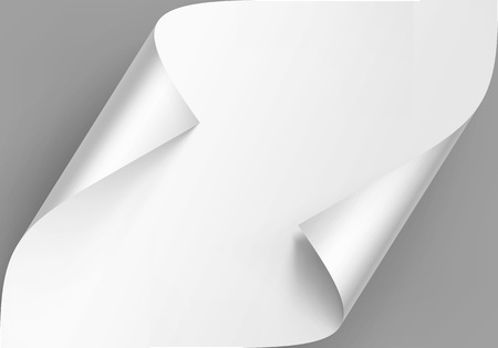 Vector Curled Corners of White Paper with Shadow Mock up Close up Isolated on Background Ilustracja